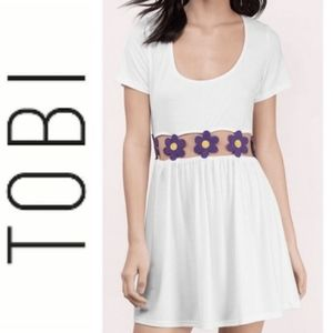 Tobi White Floral Midrift Skater Dress  NWT